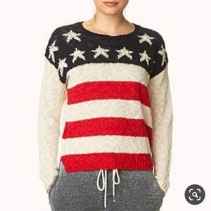 Forever 21 American Flag sweater Small